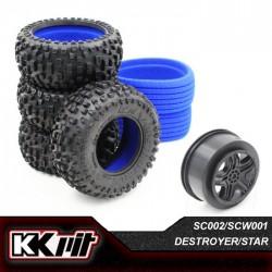 KKPIT DESTROYER - Pneus 1/10 SC + insert + jante STAR [1set]